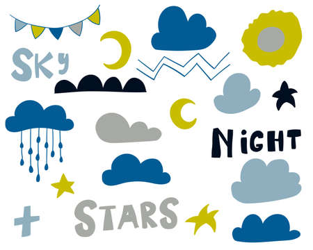 Scandinavian style elements set  for nursery design - web, print, textile. Night stars, clouds, rain, sun, moon and lettering for kids room decoration. Vector illustration