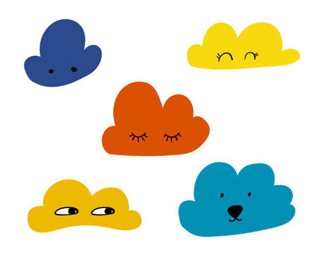 Scandinavian style clouds for creative design - web, print, textile. Faces with happy eyes. Vector illustration