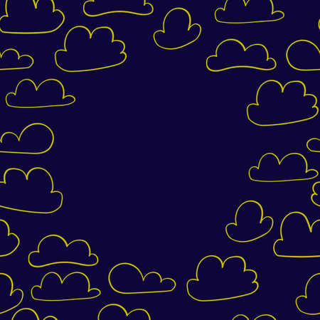 Scandinavian style banner with clouds for nursery design - web, print, frame.  Perfect for kids room. Vector illustration 일러스트