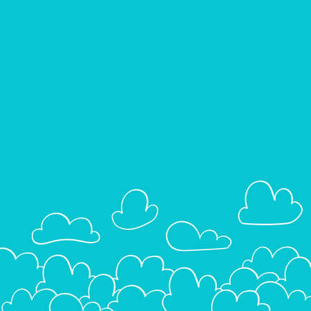 Scandinavian style banner with clouds for nursery design - web, print.  Perfect for kids room. Vector illustration