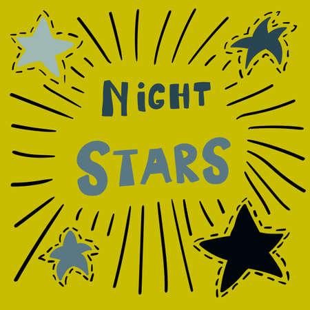 Scandinavian style poster for nursery design - web, print, textile. Night stars lettering with stars for kids room. Vector illustration
