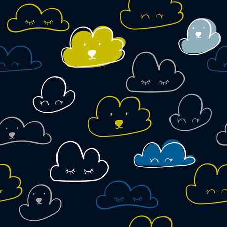 Scandinavian style pattern with clouds for nursery design - web, print, bedroom  Perfect for kids room. Vector illustration 일러스트