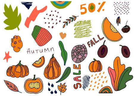 Fall elements collection for creative design. Leaves, pumpkins, plums, rowan, abstract symbols. Vector illustration Ilustração