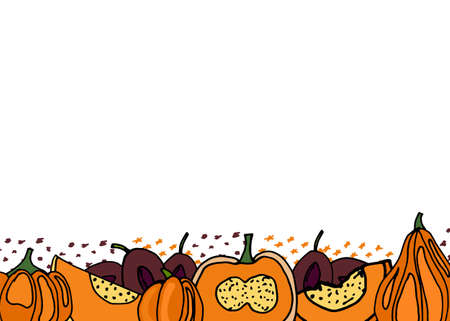 Pumpkins fall banner for creative design. Vector illustration