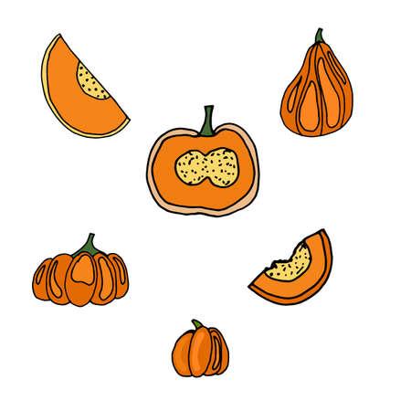 Pumpkin  icons set for creative design. Vector illustration Ilustração