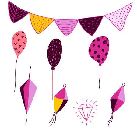 Festa Junina elements in cartoon style - for card, invitation, holiday design. Vector illustration. Flags, garland, air ballons, paper flashlights. Ilustração