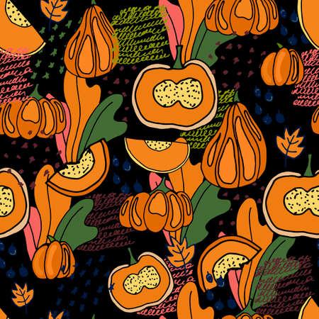Pumpkins seamless pattern for creative design.  Vector illustration Ilustração