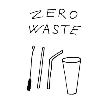 Metal cocktail straw for drinks - zero waste illustration. Vector illustration