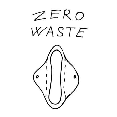 Reusable pads for woman periods - zero waste illustration. Vector illustration