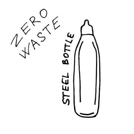 Steel Bottle for drinks - zero waste illustration. Vector illustration