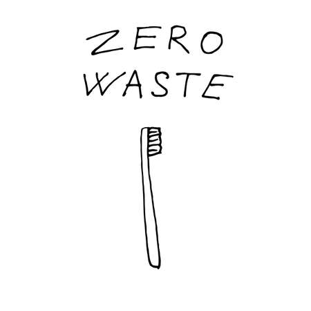 Bamboo toothbrush for dental hygiene - zero waste illustration. Vector illustration
