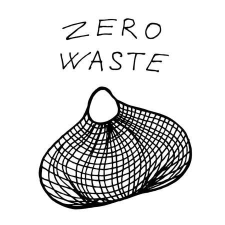 String bag for food shopping - zero waste illustration. Vector illustration Ilustração