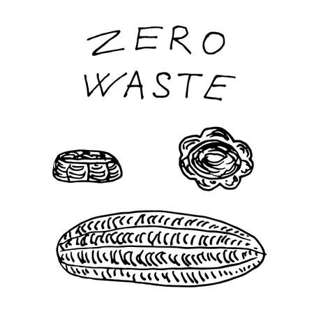 loofah washcloth for bath and kitchen - zero waste illustration. Vector illustration