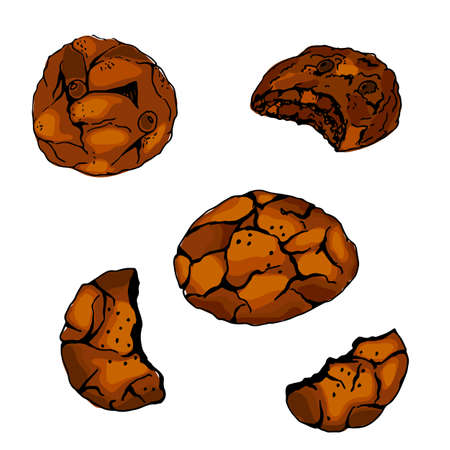 Charistmas chocolate cookies icons set in hand drawn style. Vector illustration. Perfect for print, cafe, restaurant, bakery advertising