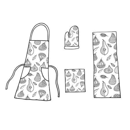 Kitchen textile icons set in hand drawn style. Vector illustration. Perfect for print, home, cafe