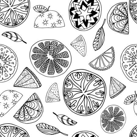 Orange  fruit seamless pattern in hand drawn style. Vector illustration. Perfect for print, kitchen, textile