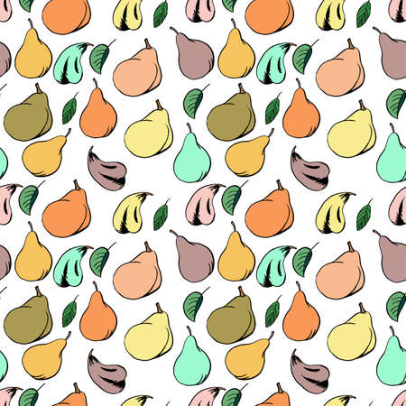 Pear fruit seamless pattern in hand drawn style. Vector illustration. Perfect for print, kitchen, textile 向量圖像