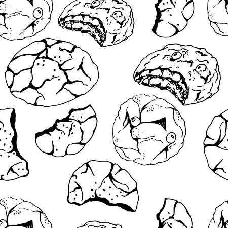 Charistmas chocolate cookies seamless pattern in hand drawn style. Vector illustration. Perfect for print, cafe, restaurant, kitchen textile 向量圖像