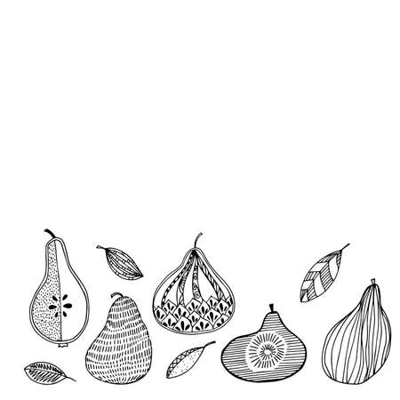 Pear fruit icons set in hand drawn style. Vector illustration. Perfect for print, kitchen, textile