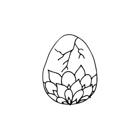 Easter egg icon in hand drawn style. Vector illustration. Perfect for card, print, coloring book pages. 向量圖像