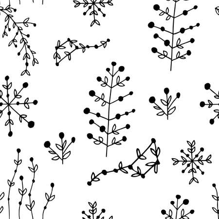 Flowers seamless pattern design in hand drawn style. Vector illustration. Perfect for print, wear, textile