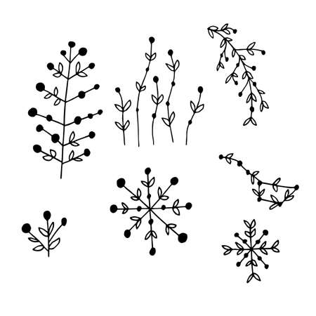 Flowers icons set in hand drawn style. Vector illustration. Perfect for print, wear, textile