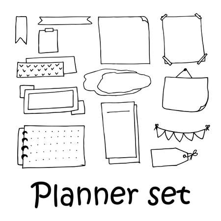 Hand drawn elements for planner design in doodle style. Vector illustration. Perfect for print, diary, planning and travel book