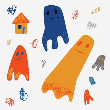 Funny ghosts icons set in doodle style. Vector illustration. Perfect for kids room decor