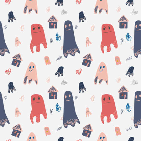 Seamless pattern with cute ghosts in doodle style. Vector illustration