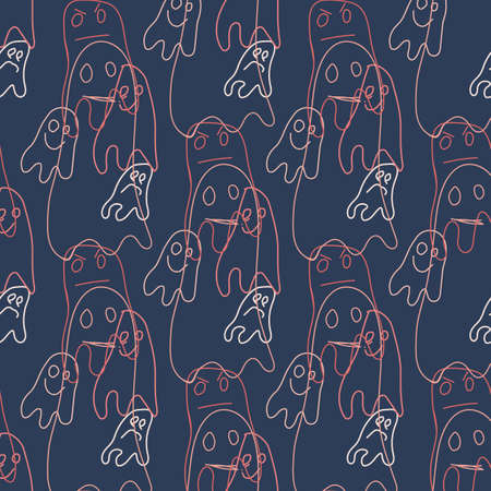 Seamless pattern with cute ghosts in doodle style. Vector illustration. Perfect for kids room decor, print and textile, wear 向量圖像