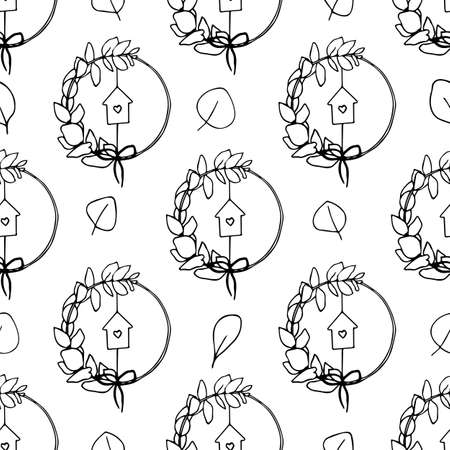 Seamless pattern with floral leaves and house. Natural decoration for interior design, bedroom, textile. Vector illustration 向量圖像