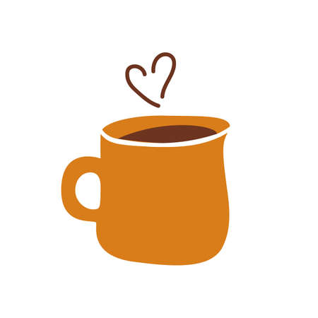 Ceramic mug icon in flat cartoon style. Vector illustration