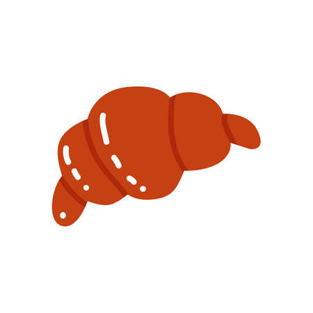 Croissant icon in flat cartoon style. Vector illustration  イラスト・ベクター素材