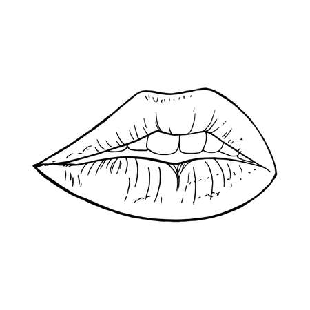 Woman lips icon in cartoon style for print and creative design. Vector illustration