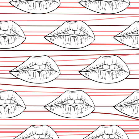 Woman lips seamless pattern in cartoon style for print and textile design. Vector illustration