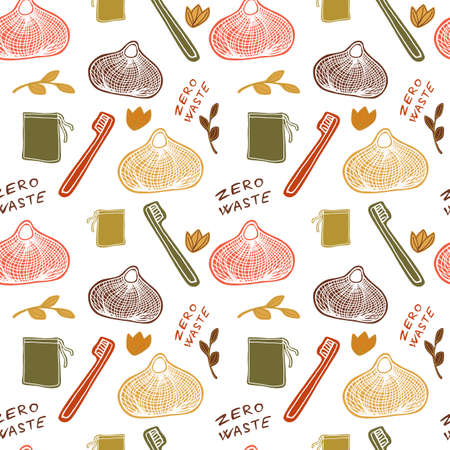 Seamless pattern with eco things - zero waste illustration. Vector illustration