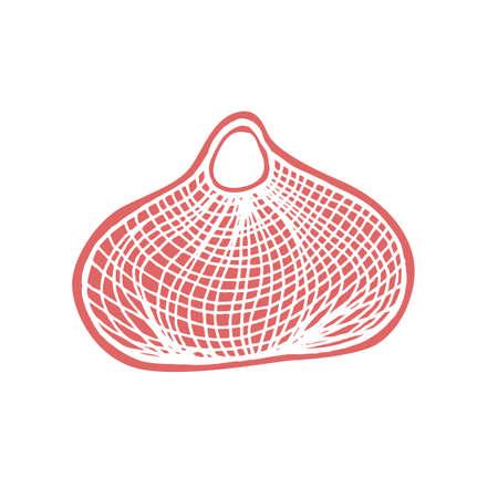 String bag for food shopping - zero waste illustration. Vector illustration  イラスト・ベクター素材