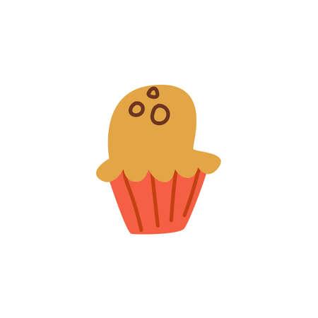 Cake icon in flat cartoon style. Vector illustration