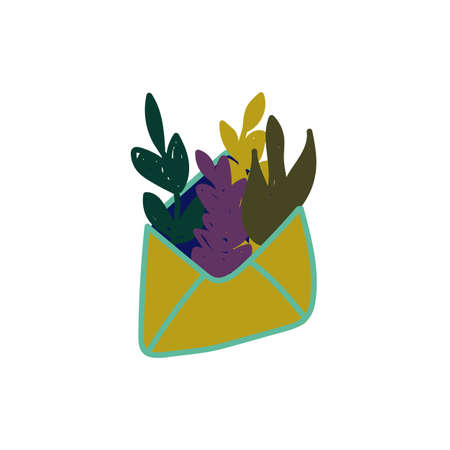 Post letter with leaves icon in flat cartoon style. Vector illustration 向量圖像