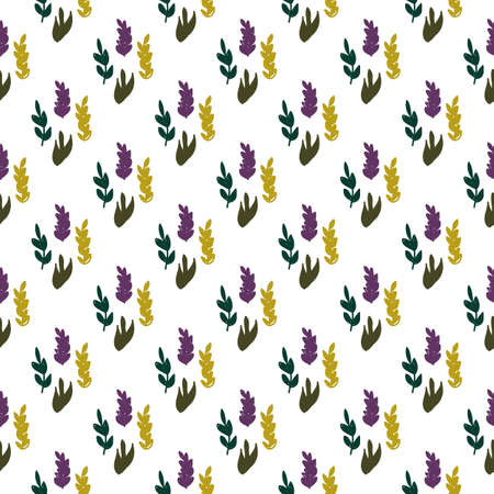 Seamless pattern with leaves in flat cartoon style. Vector illustration