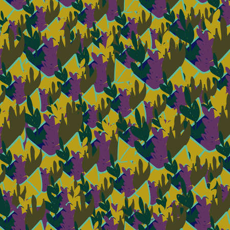 Organic pattern with leaves in flat cartoon style. Vector illustration 向量圖像
