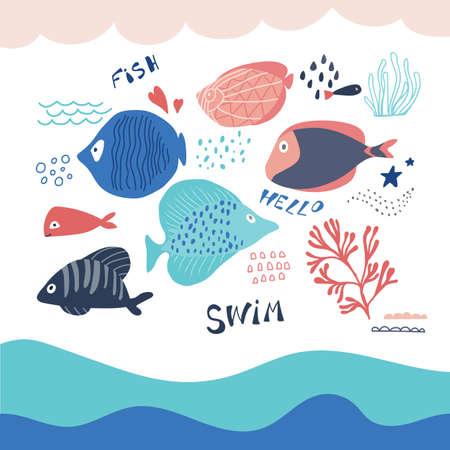 Fish icons set with tropical sea elements in cartoon style. Vector illustration