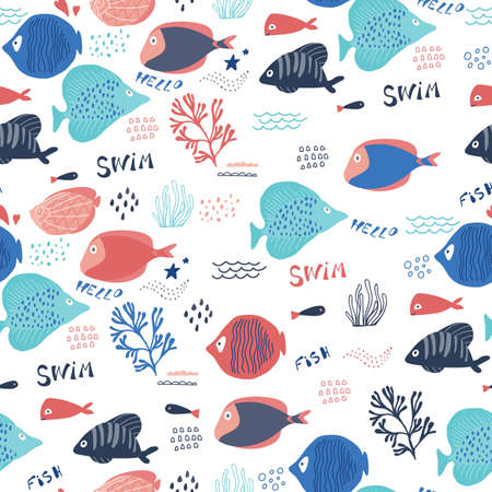 Fish seamless pattern with tropical sea elements in cartoon style. Vector illustration