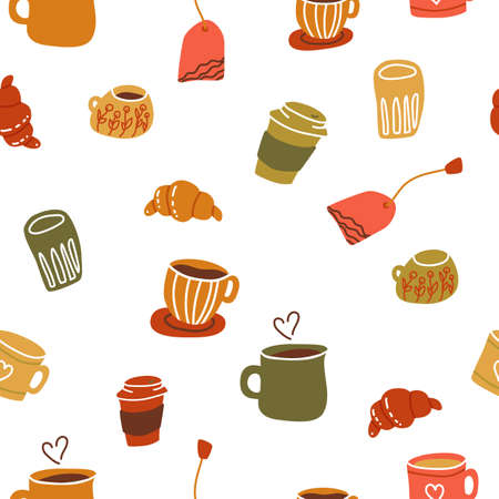 Seamless pattern with ceramic mugs coffee cups in flat cartoon style. Vector illustration