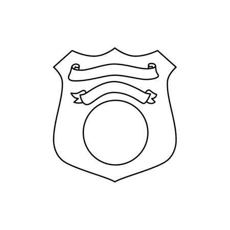 Police emblem with ribbon in outline style 向量圖像