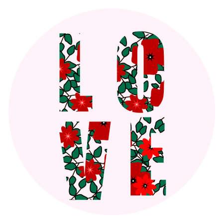LIEBE glückliche Valentinsgrußtageskarte, Schriftart, Beschriftung, bunter Hintergrund, Liebeshintergrund, Blumen Standard-Bild - 76946144