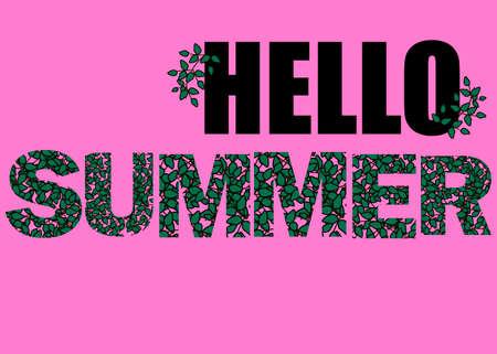 Hallo zomer illustratie, achtergrond. Leuk citaat hipster ontwerplabel. Hand belettering met bloemen