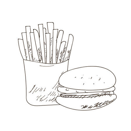 toasted: Set of fastfood hand-drawn outline drawings on white background. , sandwich, burger. Black lines.