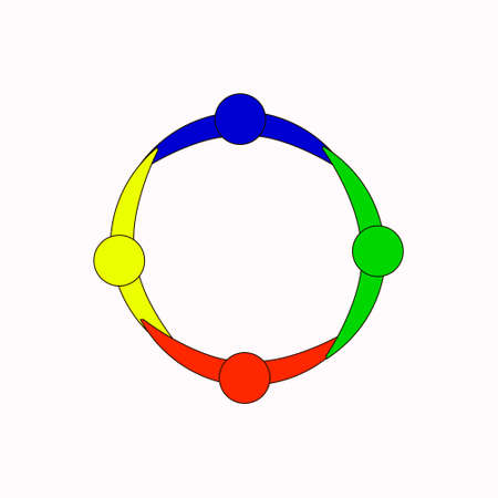 People graphic of 3 persons in circle. Vector design. team work, people unite, different people together