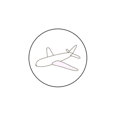 whote: Airplane vector outline icon, black line, simple plane icon, on whote background Illustration